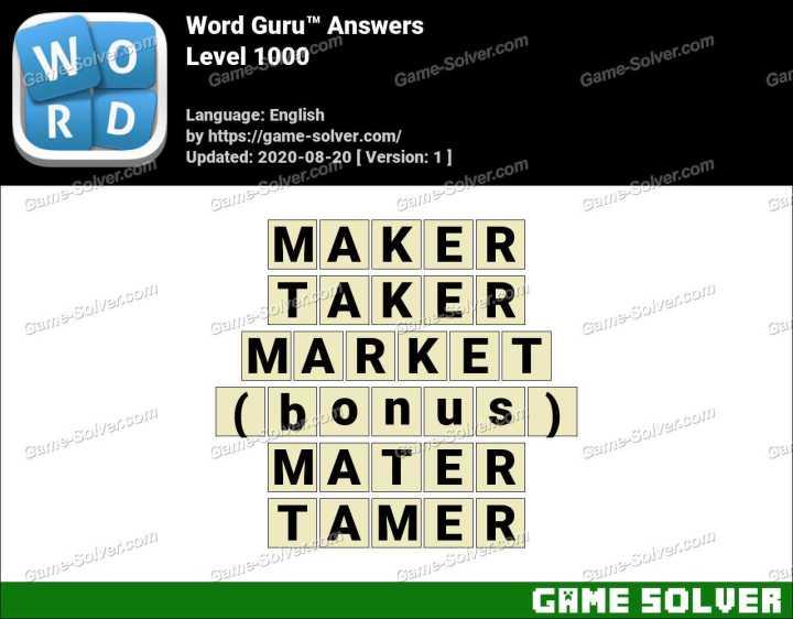 Word Guru Level 1000 Answers