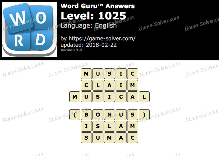 Word Guru Level 1025 Answers