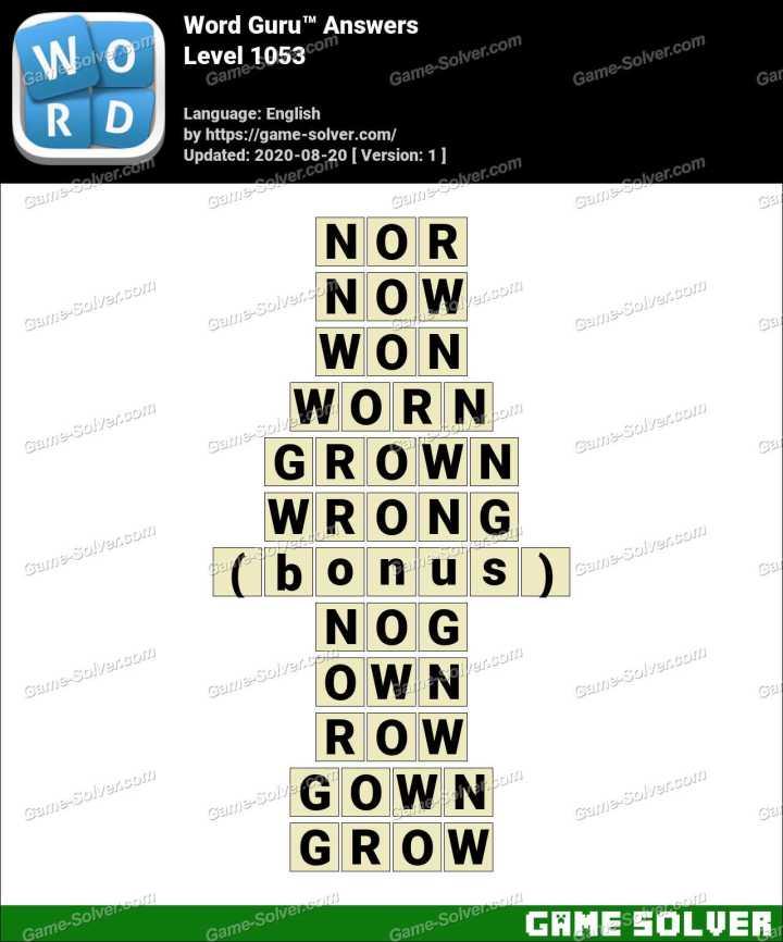 Word Guru Level 1053 Answers