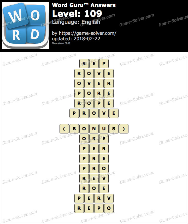 Word Guru Level 109 Answers