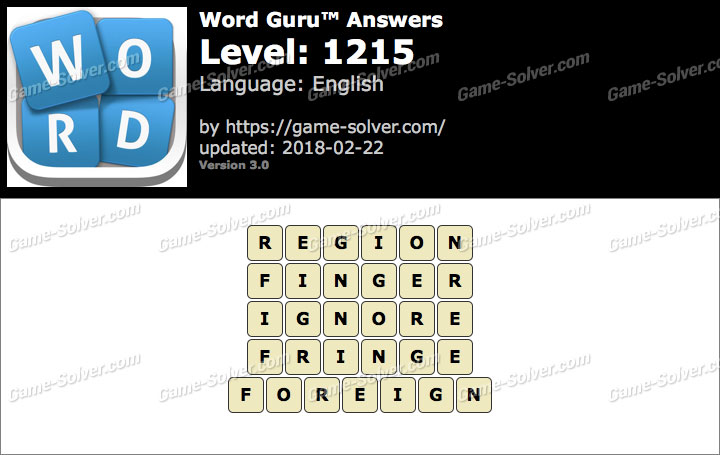 Word Guru Level 1215 Answers
