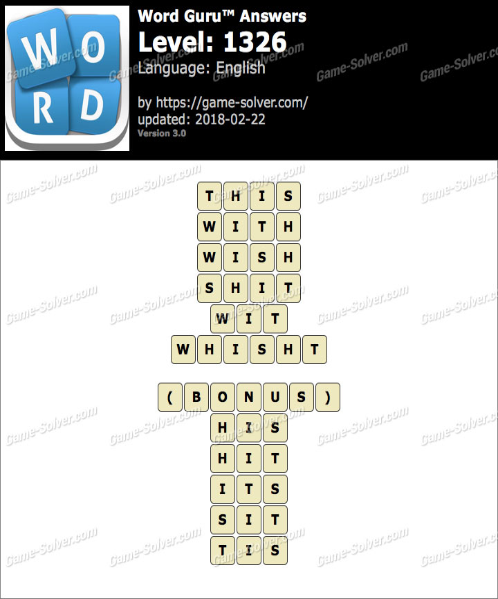 Word Guru Level 1326 Answers