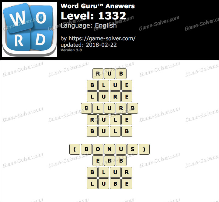 Word Guru Level 1332 Answers