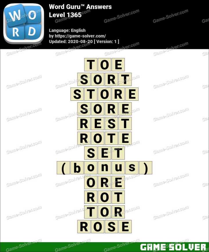 Word Guru Level 1365 Answers