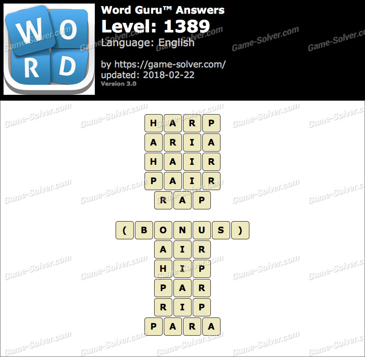 Word Guru Level 1389 Answers