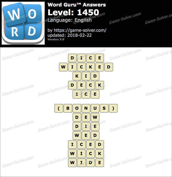 Word Guru Level 1450 Answers
