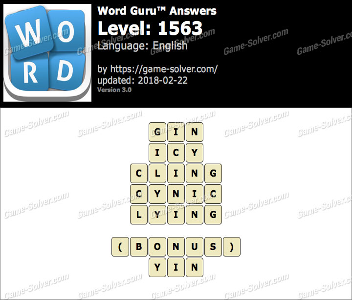 Word Guru Level 1563 Answers