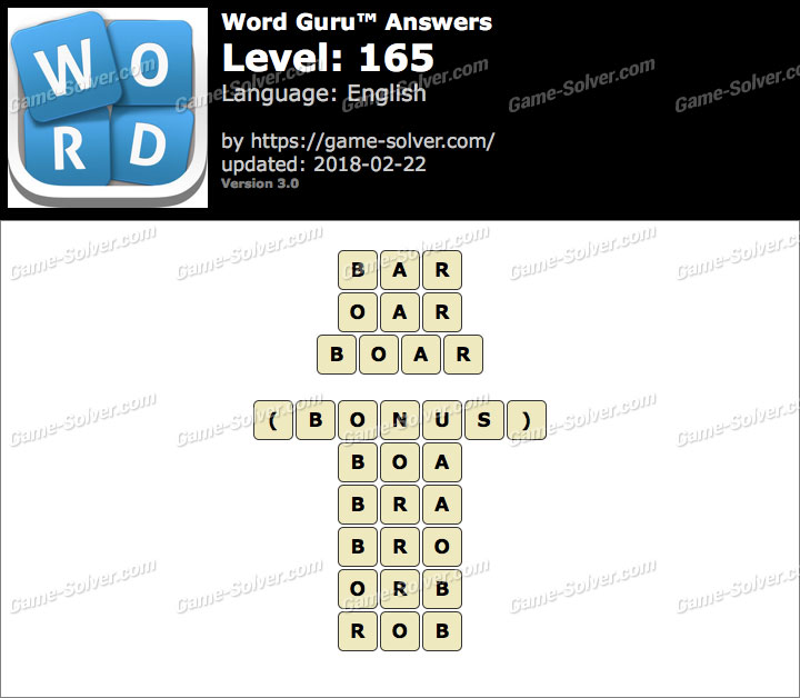 Word Guru Level 165 Answers