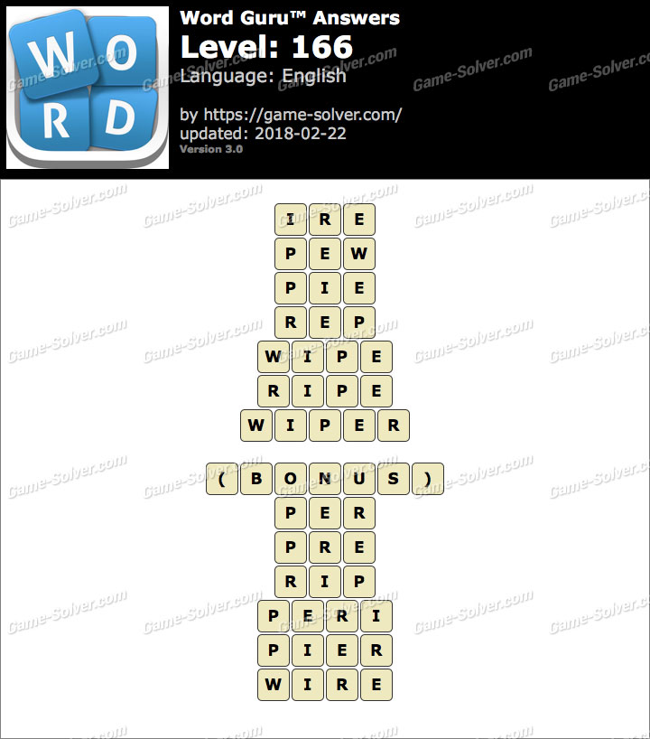 Word Guru Level 166 Answers