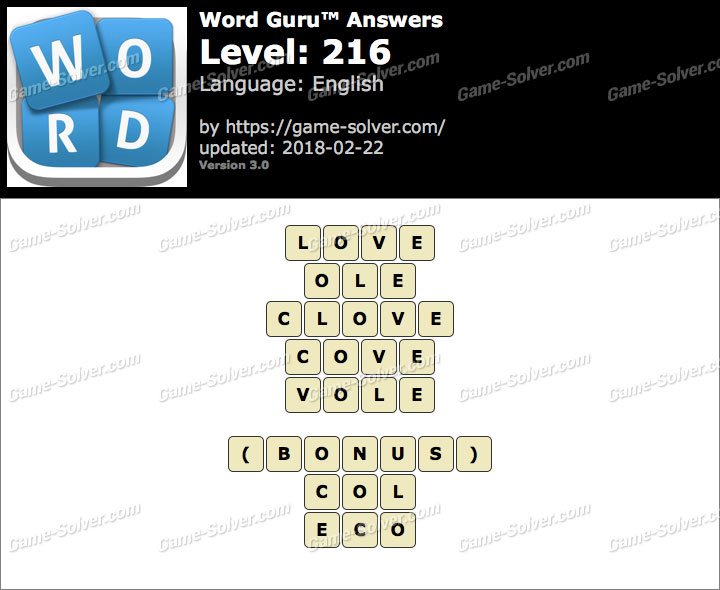 Word Guru Level 216 Answers