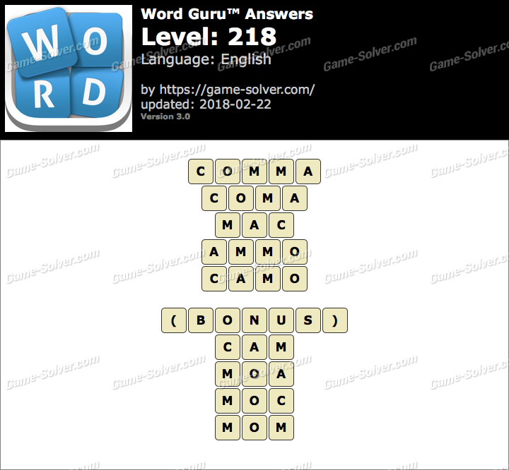 Word Guru Level 218 Answers