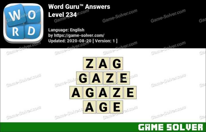 Word Guru Level 234 Answers