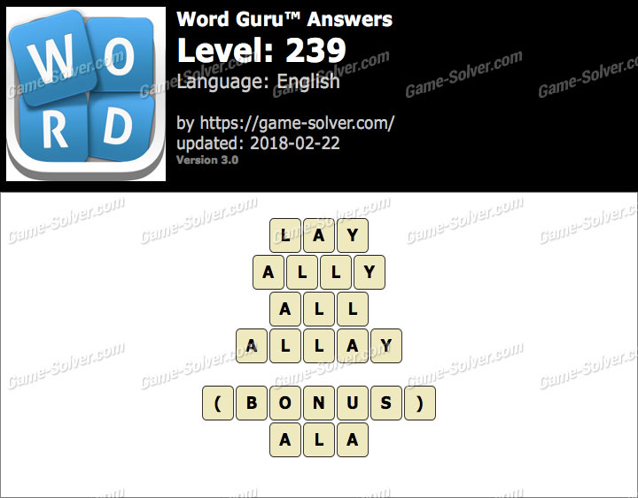 Word Guru Level 239 Answers