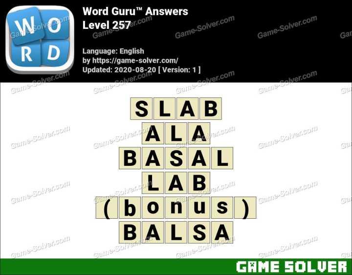 Word Guru Level 257 Answers