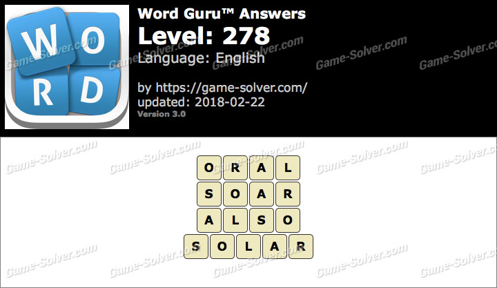 Word Guru Level 278 Answers