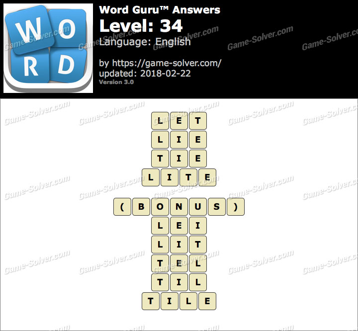 Word Guru Level 34 Answers