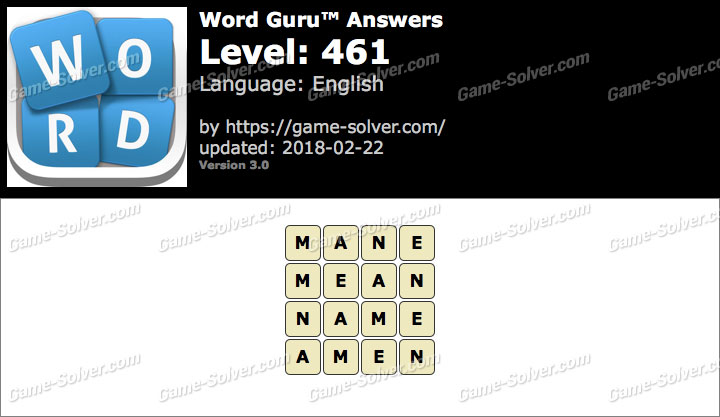 Word Guru Level 461 Answers