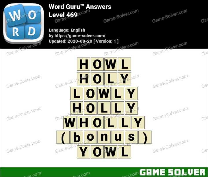 Word Guru Level 469 Answers