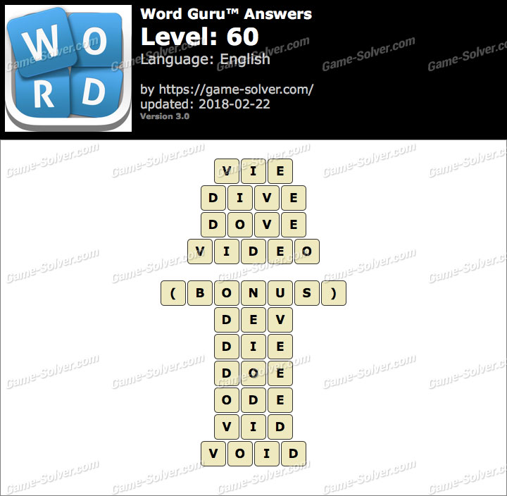 Word Guru Level 60 Answers