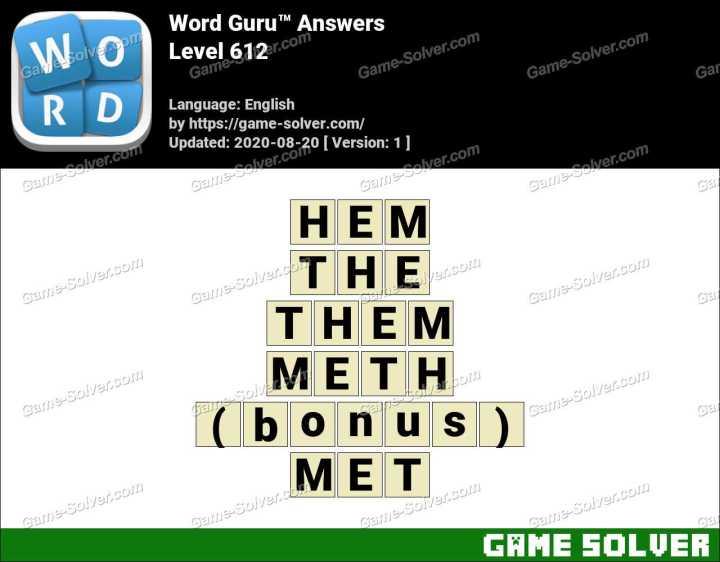Word Guru Level 612 Answers