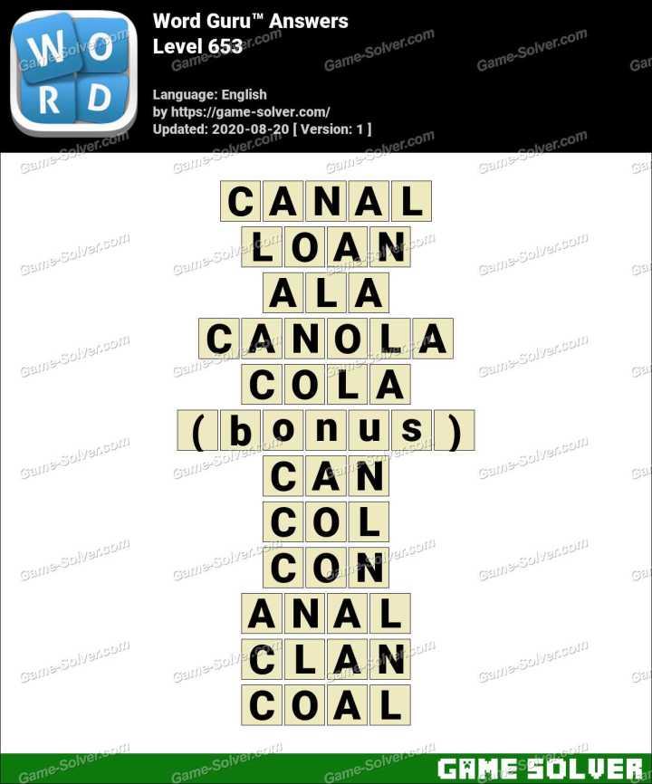 Word Guru Level 653 Answers