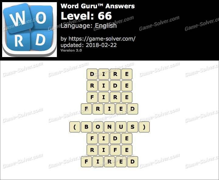 Word Guru Level 66 Answers