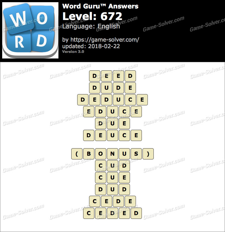 Word Guru Level 672 Answers
