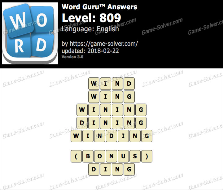 Word Guru Level 809 Answers