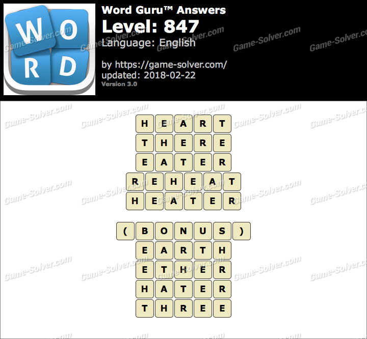 Word Guru Level 847 Answers