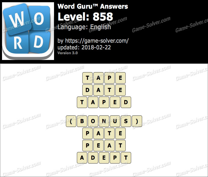 Word Guru Level 858 Answers