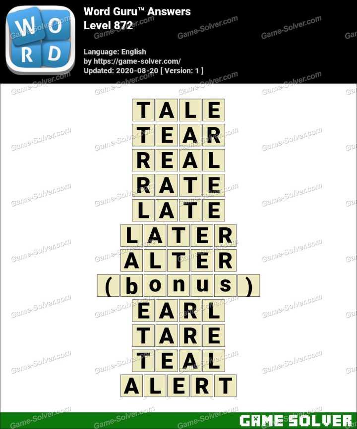 Word Guru Level 872 Answers