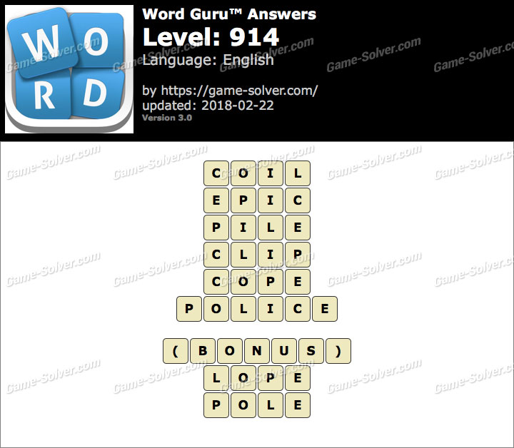 Word Guru Level 914 Answers