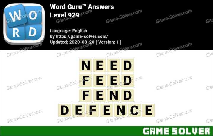 Word Guru Level 929 Answers