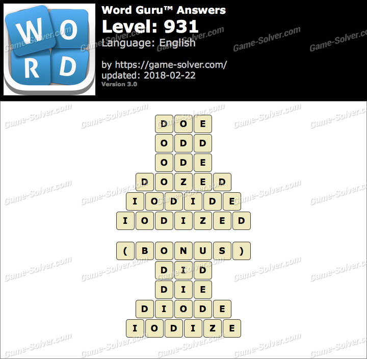 Word Guru Level 931 Answers