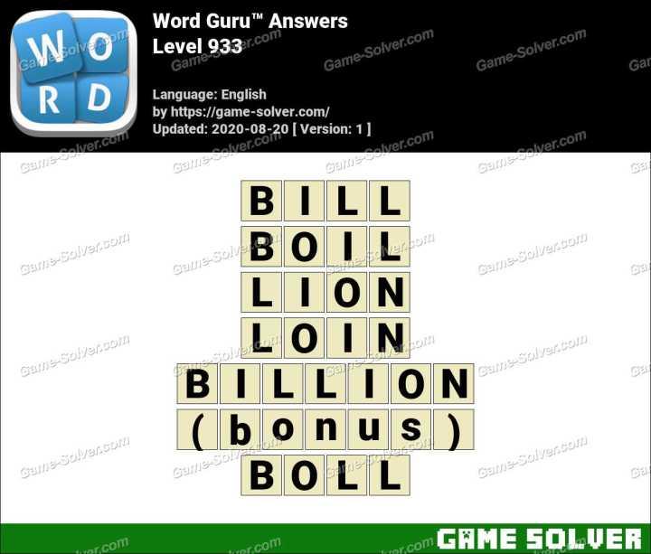 Word Guru Level 933 Answers