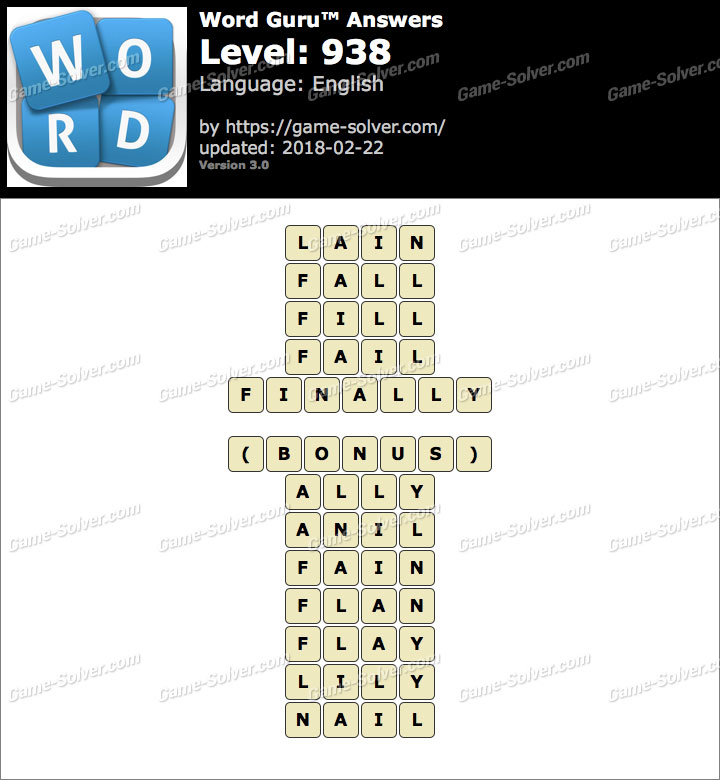Word Guru Level 938 Answers