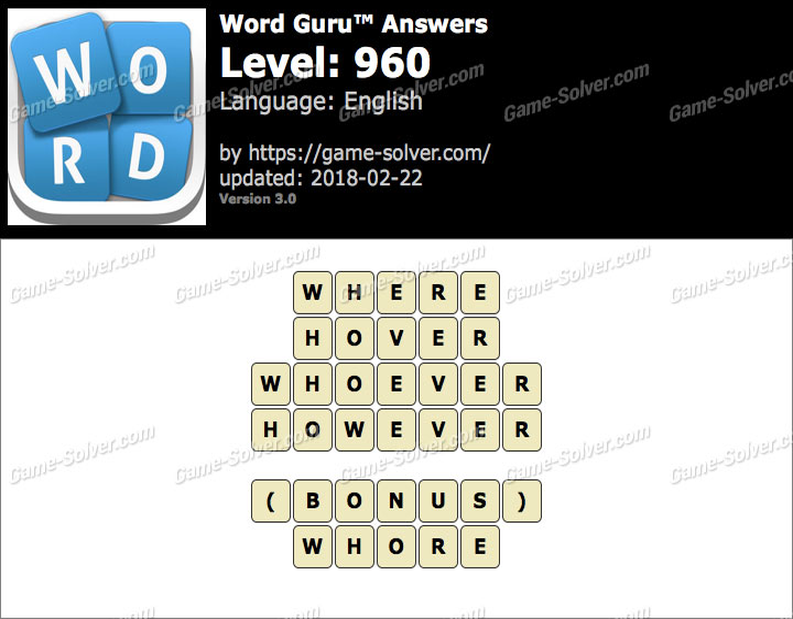 Word Guru Level 960 Answers