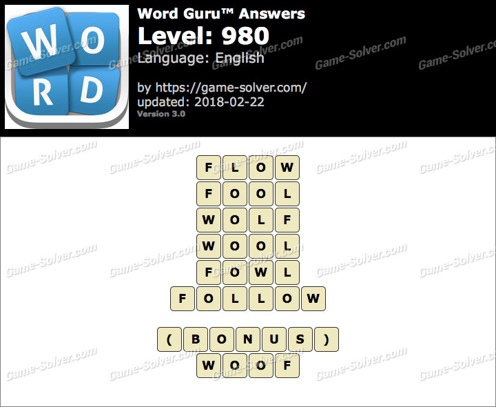 Word Guru Level 980 Answers