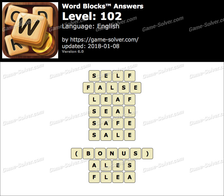 Word Blocks Level 102 Answers