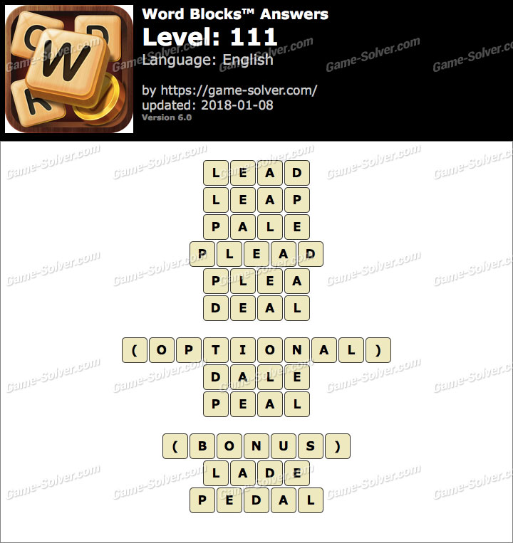 Word Blocks Level 111 Answers