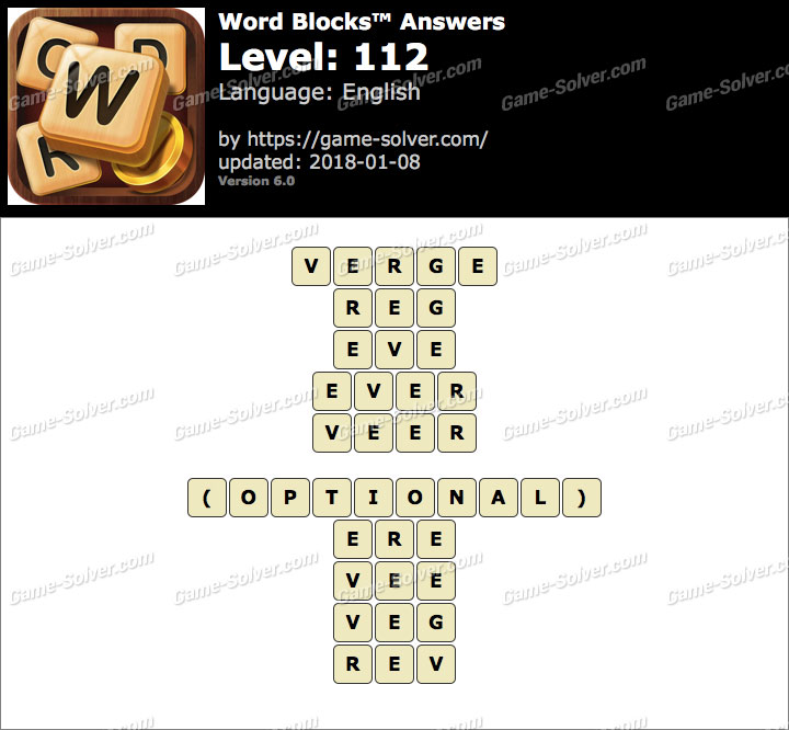 Word Blocks Level 112 Answers