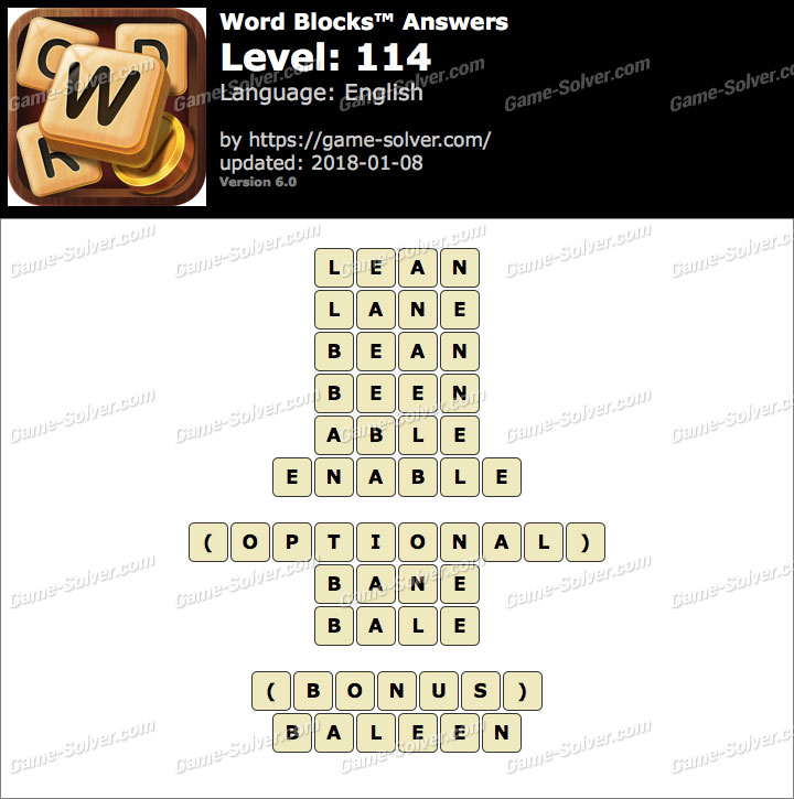 Word Blocks Level 114 Answers