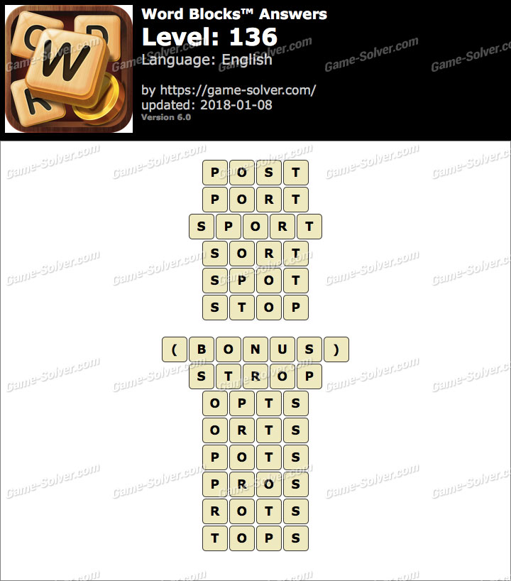 Word Blocks Level 136 Answers