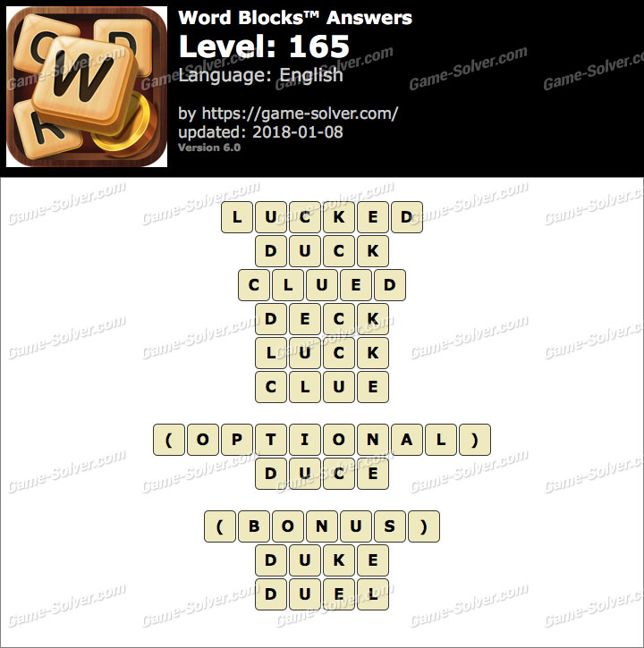 Word Blocks Level 165 Answers