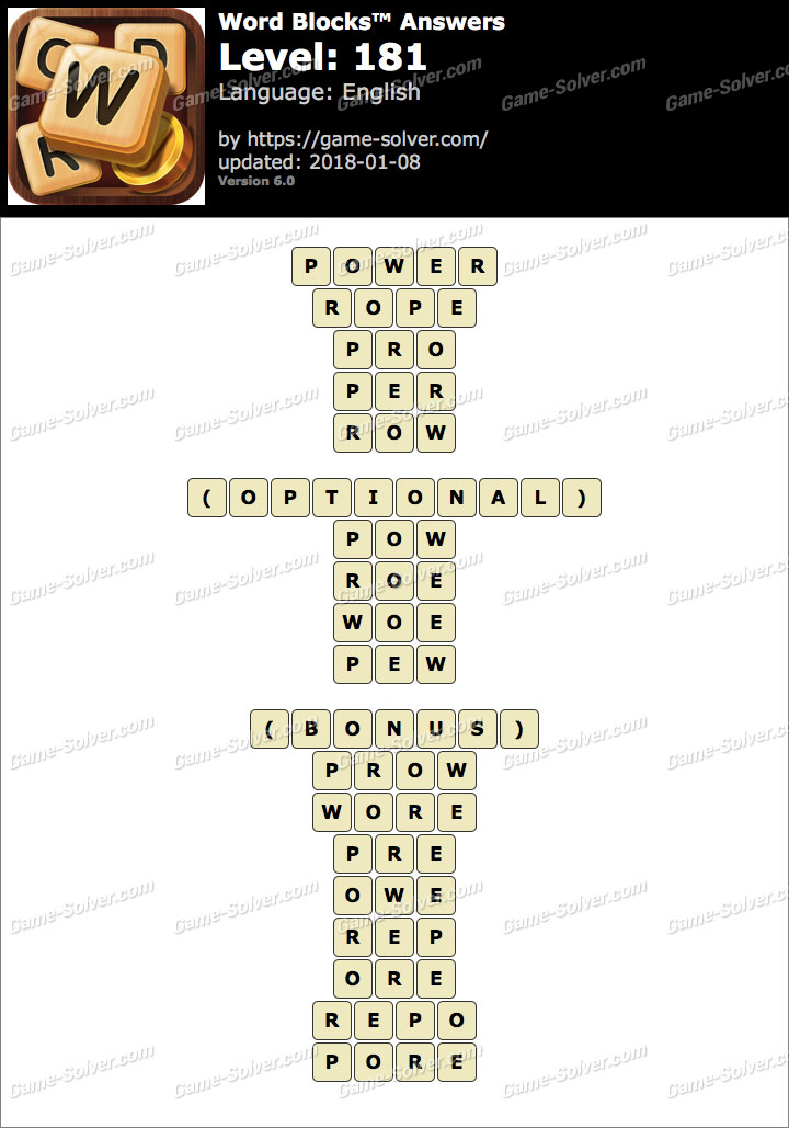 Word Blocks Level 181 Answers