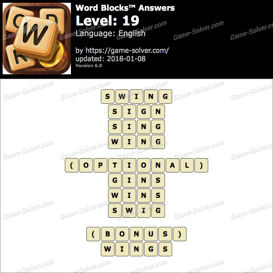 Word Blocks Level 19 Answers