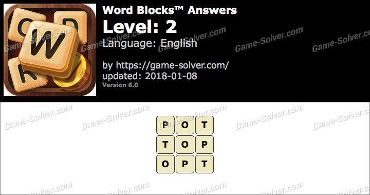 Word Blocks Level 2 Answers