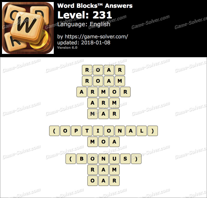 Word Blocks Level 231 Answers