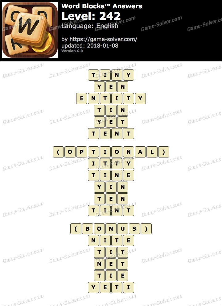 Word Blocks Level 242 Answers