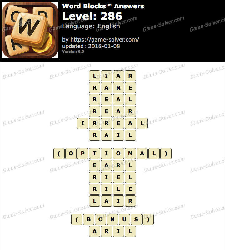 Word Blocks Level 286 Answers